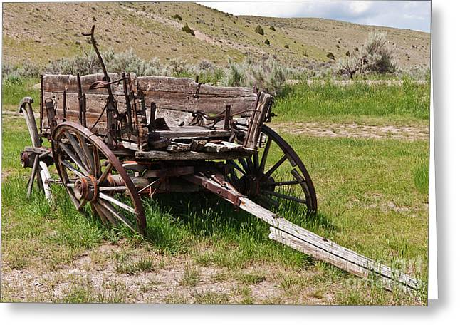 Dilapidated Wagon With Leaning Wheels Greeting Card by Sue Smith