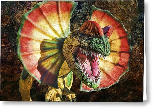 Dilophosaurus Spitting Dinosaur Greeting Card