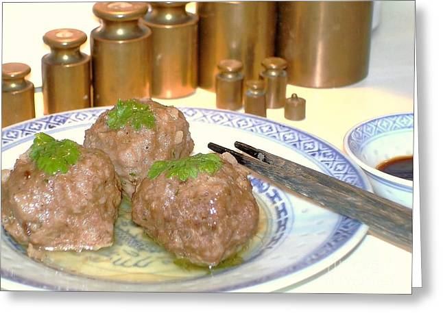 Greeting Card featuring the photograph Dim Sum - Beef Balls by Katy Mei