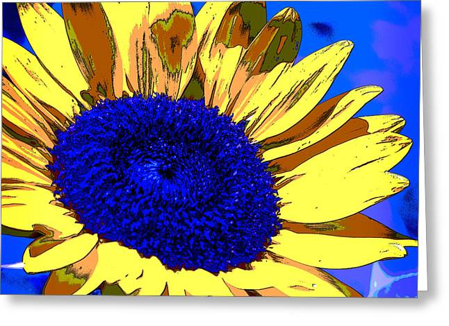 Dimensional Sunflower  Greeting Card by Nancy E Stein