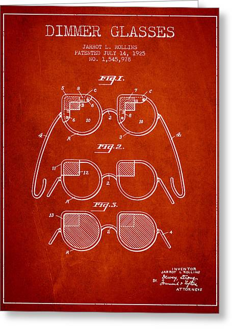 Dimmer Glasses Patent From 1925 - Red Greeting Card