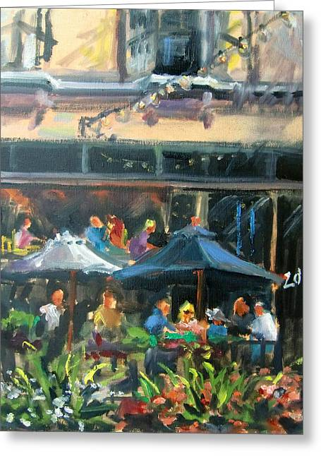 Dine Out On 4th Street Greeting Card by Mitzi Lai
