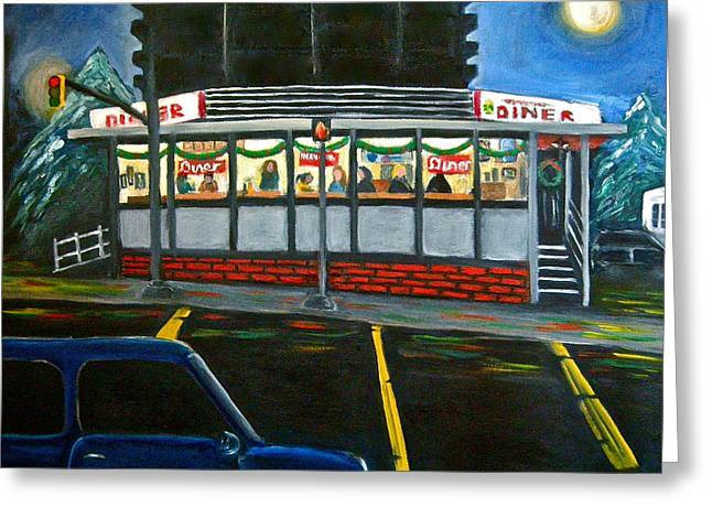 Diner In Arlington Greeting Card by Victoria Lakes