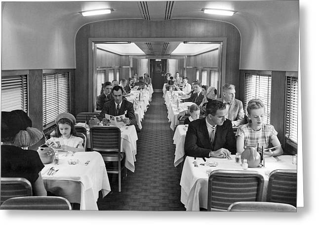 Diners In Railroad Dining Car Greeting Card