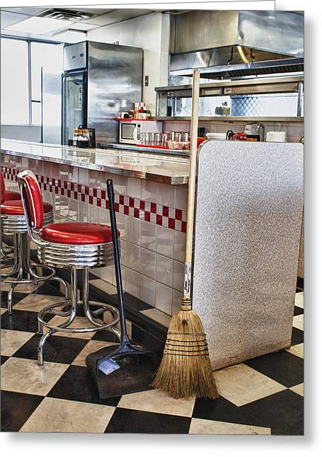 Dingy Diner Greeting Card by Trever Miller