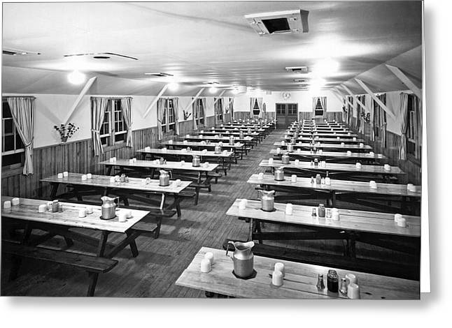 Dining Hall Interior Greeting Card by Underwood Archives