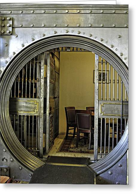 Dining In The Vault At Metals Bank Greeting Card by Image Takers Photography LLC - Laura Morgan