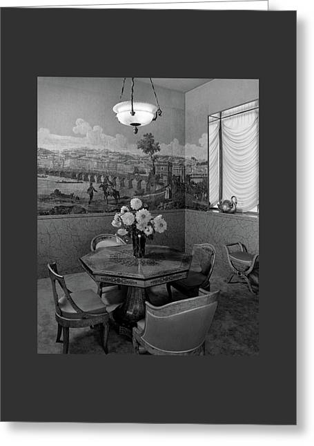 Dining Room In Helena Rubinstein's Home Greeting Card by F. S. Lincoln