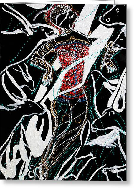 Greeting Card featuring the painting Dinka Dance by Gloria Ssali