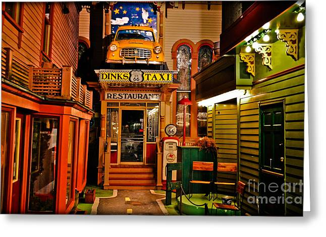 Dinks Route 66 Taxi Restaurant Greeting Card by Gary Keesler