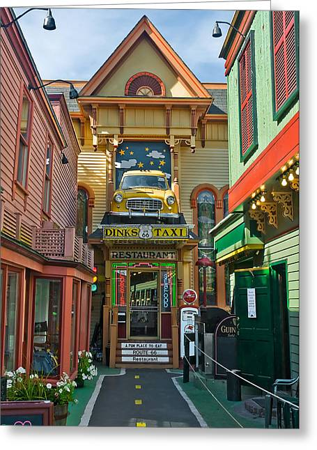 Dinks Taxi In Bar Harbor Greeting Card