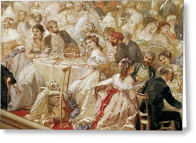 Dinner At The Tuileries, 1867 Wc On Paper Detail Of 182992 Greeting Card by Henri Baron