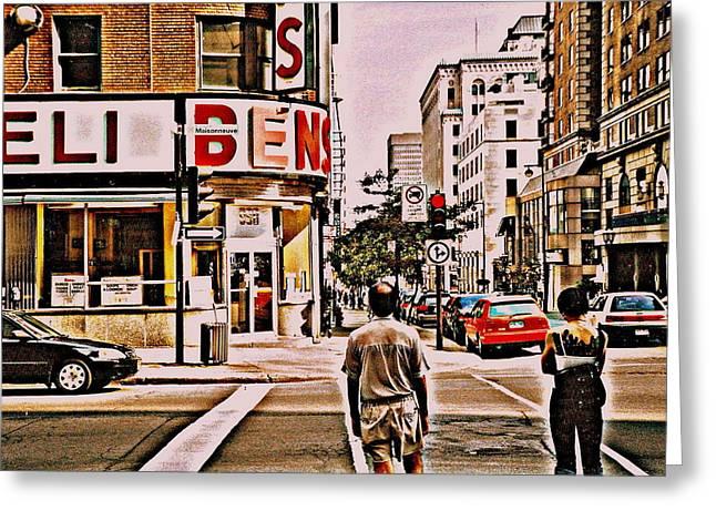 Dinner For Two Ben's Restaurant Downtown Scenes Montreal Memories Corner De Maisonneuve Greeting Card by Carole Spandau
