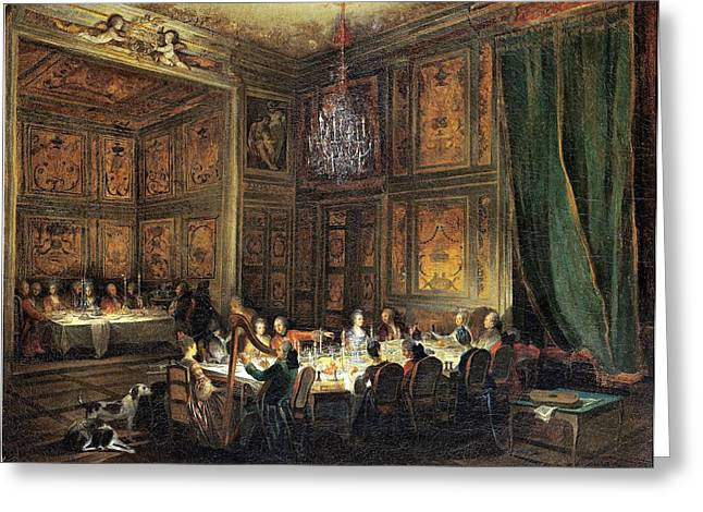 Dinner Of The Prince Of Conti 1717-76 In The Temple, 1766 Oil On Canvas Greeting Card by Michel Barthelemy Ollivier or Olivier