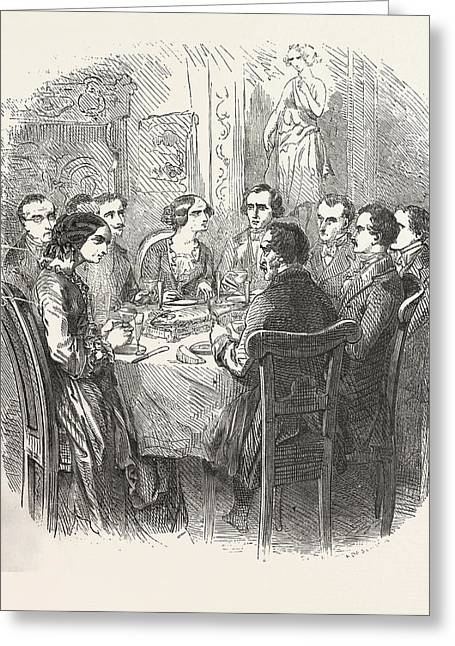 Dinner, The Count Of Monte Christo Alexandre Dumas, 1844 Greeting Card by English School