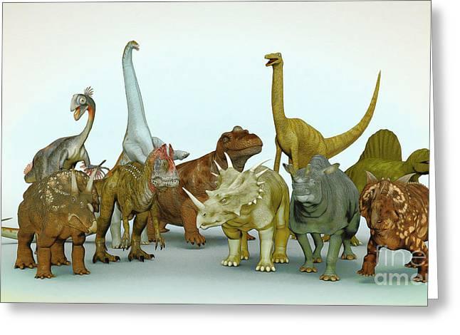 Dino Meeting Greeting Card by Jutta Maria Pusl