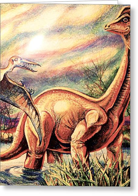 Greeting Card featuring the drawing Dinos by Linda Shackelford