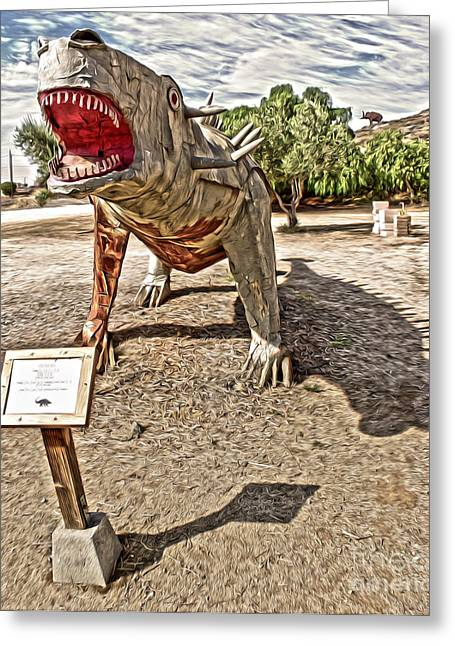 Dinosaur Atack Greeting Card by Gregory Dyer