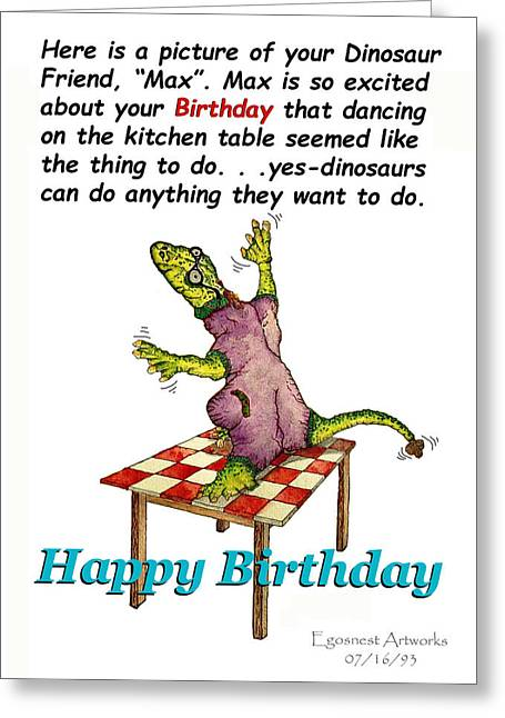 Dinosaur Dances On Birthday Greeting Card by Michael Shone SR