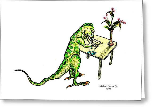 Dinosaur Get Well Sorry Miss You Condolences Sympathy Blank Greeting Card by Michael Shone SR