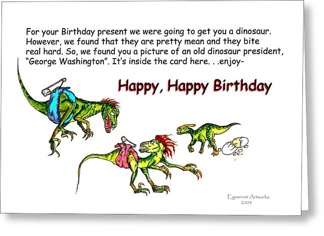 Dinosaur Kids Birthday Greeting Card by Michael Shone SR