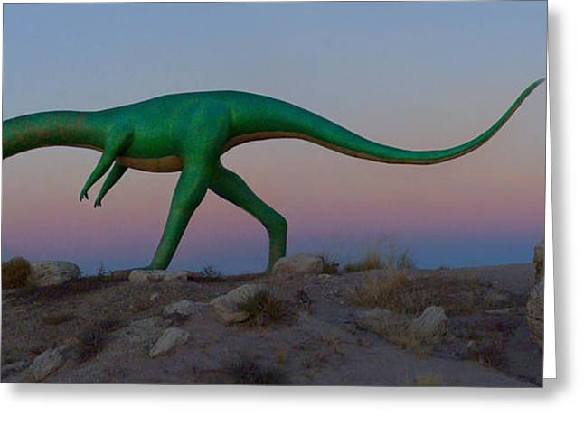Dinosaur Loose On Route 66 2 Panoramic Greeting Card