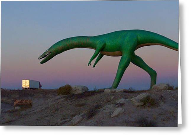 Dinosaur Loose On Route 66 2 Panoramic Greeting Card by Mike McGlothlen