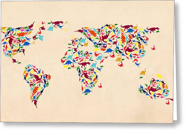 Dinosaur Map Of The World  Greeting Card by Mark Ashkenazi