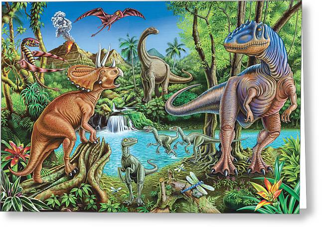 Dinosaur Waterfall Greeting Card