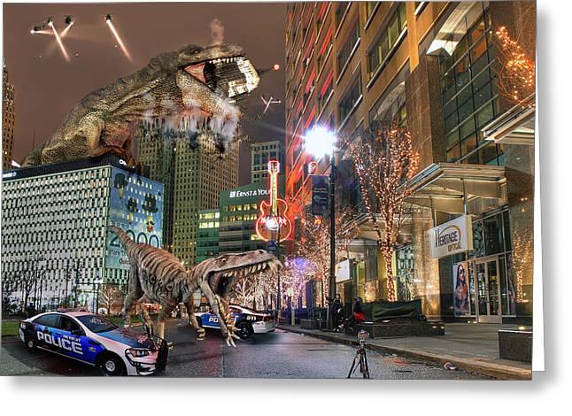 Dinotroit Greeting Card by Nicholas  Grunas