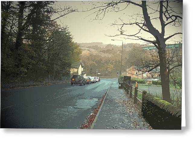 Dinting Vale, Approaching The A57 Road Junction Greeting Card by Litz Collection