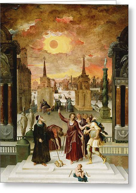 Dionysius The Areopagite Converting The Pagan Philosophers, 1570s Oil On Panel Greeting Card by Antoine Caron