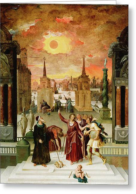 Dionysius The Areopagite Converting The Pagan Philosophers Greeting Card by Litz Collection