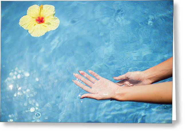 Dipping Hands In The Water Greeting Card by Judi Angel