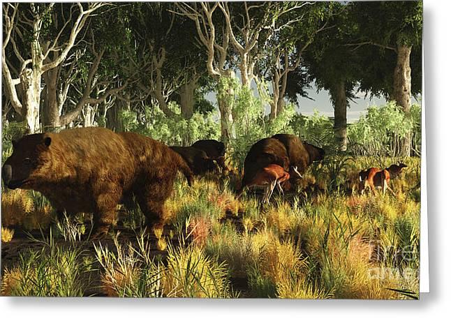 Diprotodon On The Edge Of A Eucalyptus Greeting Card by Arthur Dorety
