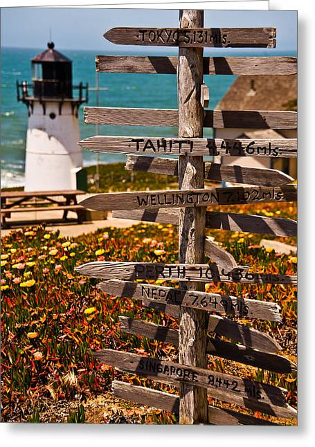 Directional Signs On A Pole With Light Greeting Card by Panoramic Images