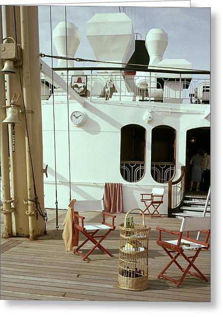 Directors Chairs In Front Of The Ship The Queen Greeting Card