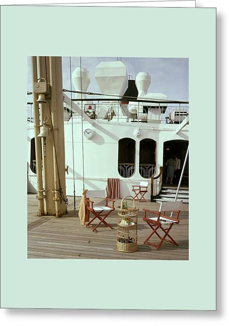Directors Chairs In Front Of The Ship The Queen Greeting Card by Tom Leonard