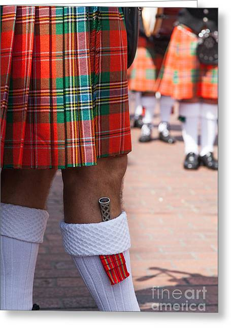 dirk in sock with kilt of scottish bagpipe player in Chichester  Greeting Card by Peter Noyce