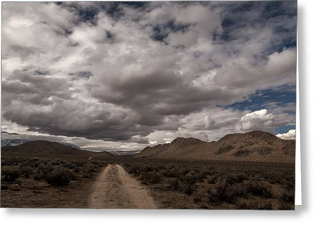 Dirt Road And Clouds Greeting Card by Cat Connor