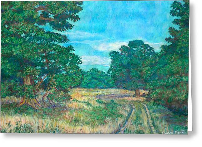Greeting Card featuring the painting Dirt Road Near Rock Castle Gorge by Kendall Kessler