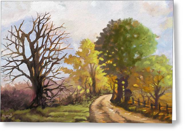 Greeting Card featuring the painting Dirt Road To Some Place by Anthony Mwangi