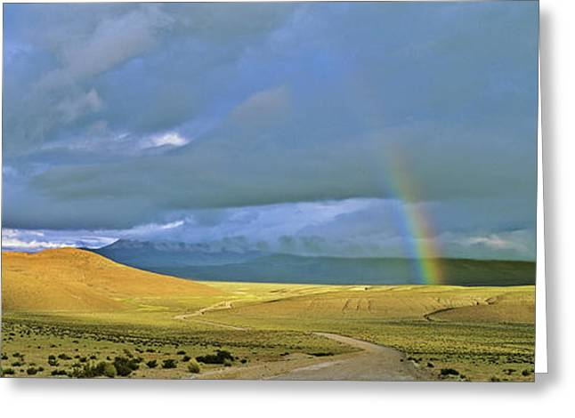 Dirt Road With Rainbow, Altiplano Greeting Card by Martin Zwick