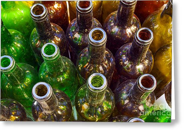 Dirty Bottles Greeting Card by Carlos Caetano