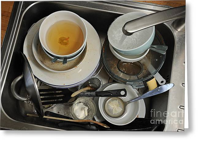 Dirty Dishes In Sink Greeting Card by Sami Sarkis