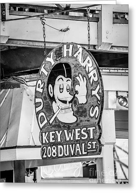 Dirty Harry's Key West - Black And White Greeting Card