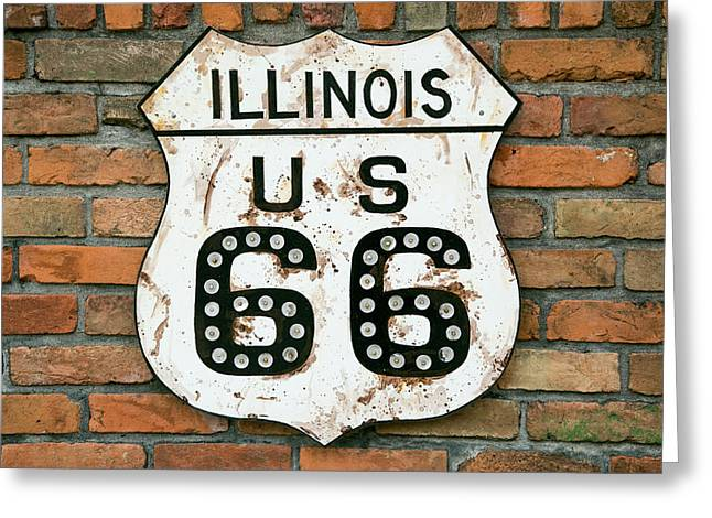 Dirty Illinois Route 66 Sign, Atlanta Greeting Card by Julien Mcroberts