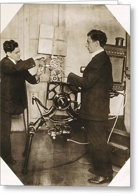 Disabled Film Projectionist, 1919 Greeting Card by Science Photo Library