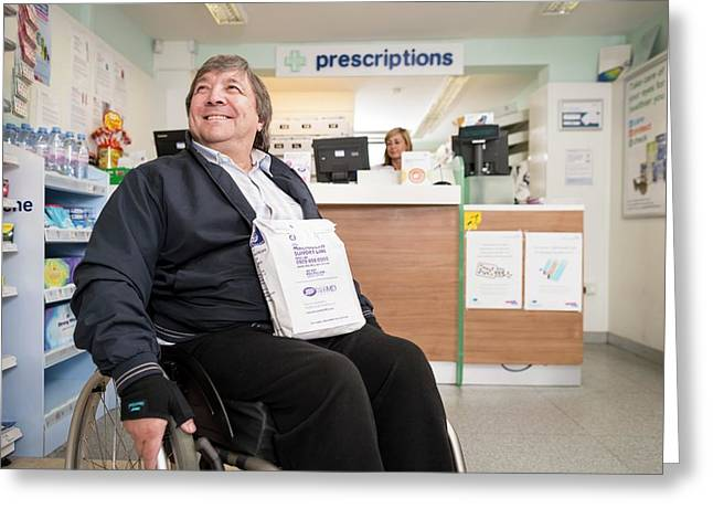 Disabled Man In Pharmacy Greeting Card