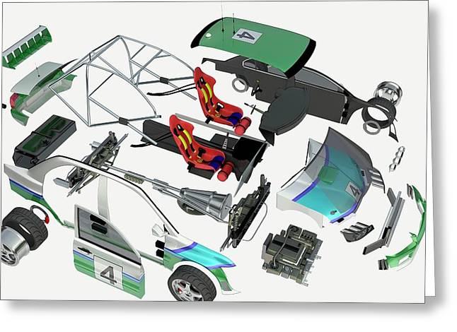 Disassembled Parts Of A Racing Car Greeting Card